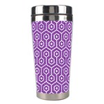 HEXAGON1 WHITE MARBLE & PURPLE DENIM Stainless Steel Travel Tumblers Right