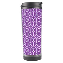 Hexagon1 White Marble & Purple Denim Travel Tumbler