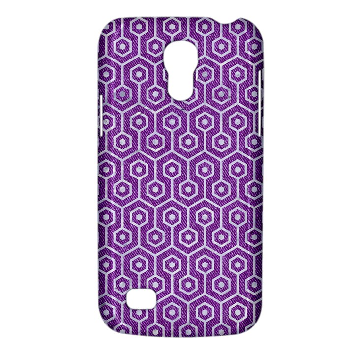HEXAGON1 WHITE MARBLE & PURPLE DENIM Galaxy S4 Mini