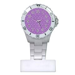 Hexagon1 White Marble & Purple Denim Plastic Nurses Watch
