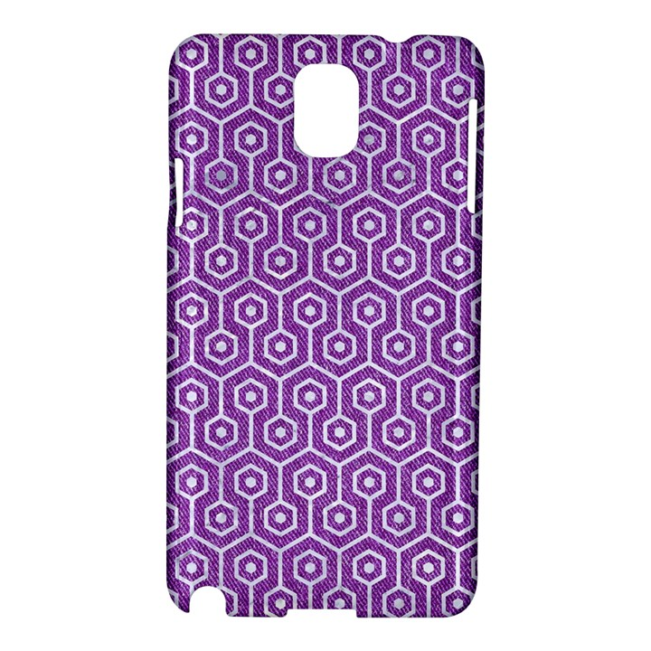 HEXAGON1 WHITE MARBLE & PURPLE DENIM Samsung Galaxy Note 3 N9005 Hardshell Case