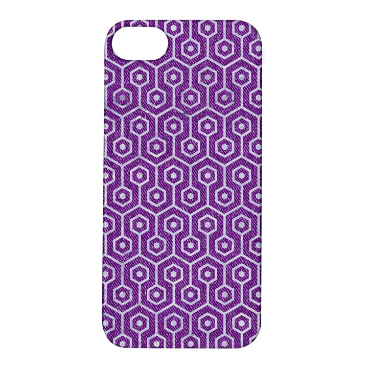 HEXAGON1 WHITE MARBLE & PURPLE DENIM Apple iPhone 5S/ SE Hardshell Case