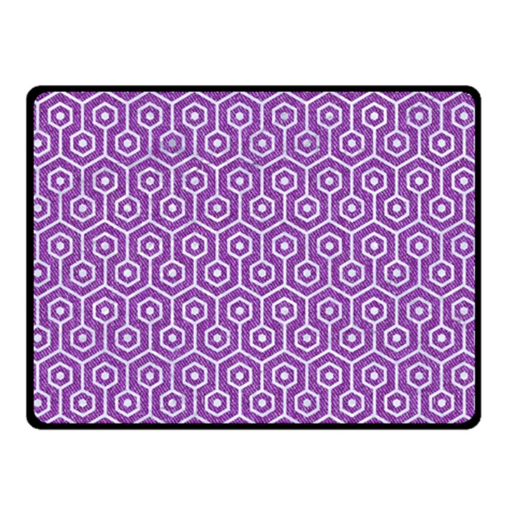 HEXAGON1 WHITE MARBLE & PURPLE DENIM Double Sided Fleece Blanket (Small)