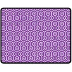 HEXAGON1 WHITE MARBLE & PURPLE DENIM Double Sided Fleece Blanket (Medium)  58.8 x47.4 Blanket Back