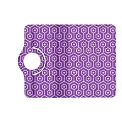 Hexagon1 White Marble & Purple Denim Kindle Fire Hd (2013) Flip 360 Case