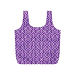 HEXAGON1 WHITE MARBLE & PURPLE DENIM Full Print Recycle Bags (S)  Front