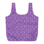 HEXAGON1 WHITE MARBLE & PURPLE DENIM Full Print Recycle Bags (L)  Front