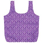 HEXAGON1 WHITE MARBLE & PURPLE DENIM Full Print Recycle Bags (L)  Back