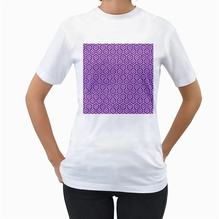 HEXAGON1 WHITE MARBLE & PURPLE DENIM Women s T-Shirt (White)