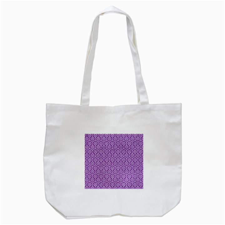 HEXAGON1 WHITE MARBLE & PURPLE DENIM Tote Bag (White)
