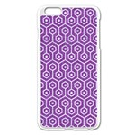 HEXAGON1 WHITE MARBLE & PURPLE DENIM Apple iPhone 6 Plus/6S Plus Enamel White Case Front