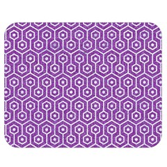 Hexagon1 White Marble & Purple Denim Double Sided Flano Blanket (medium)
