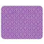 HEXAGON1 WHITE MARBLE & PURPLE DENIM Double Sided Flano Blanket (Medium)  60 x50 Blanket Back