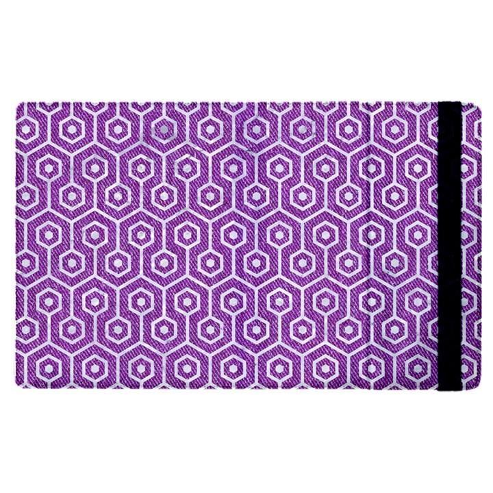 HEXAGON1 WHITE MARBLE & PURPLE DENIM Apple iPad Pro 12.9   Flip Case