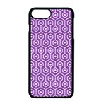 HEXAGON1 WHITE MARBLE & PURPLE DENIM Apple iPhone 7 Plus Seamless Case (Black) Front