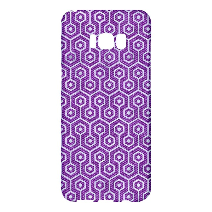 HEXAGON1 WHITE MARBLE & PURPLE DENIM Samsung Galaxy S8 Plus Hardshell Case
