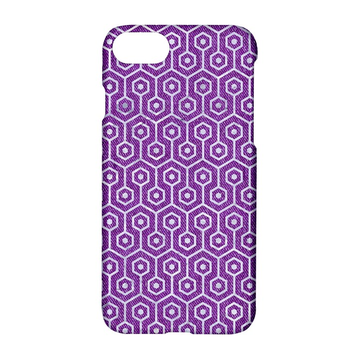 HEXAGON1 WHITE MARBLE & PURPLE DENIM Apple iPhone 8 Hardshell Case