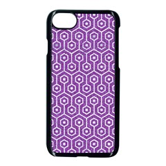 Hexagon1 White Marble & Purple Denim Apple Iphone 8 Seamless Case (black)