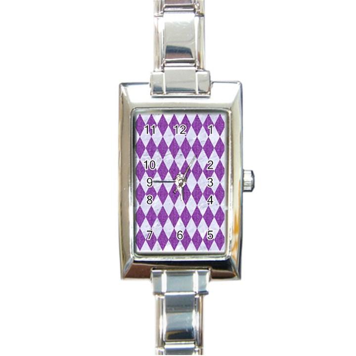 DIAMOND1 WHITE MARBLE & PURPLE DENIM Rectangle Italian Charm Watch