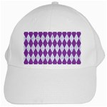DIAMOND1 WHITE MARBLE & PURPLE DENIM White Cap