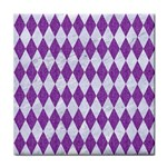DIAMOND1 WHITE MARBLE & PURPLE DENIM Tile Coasters