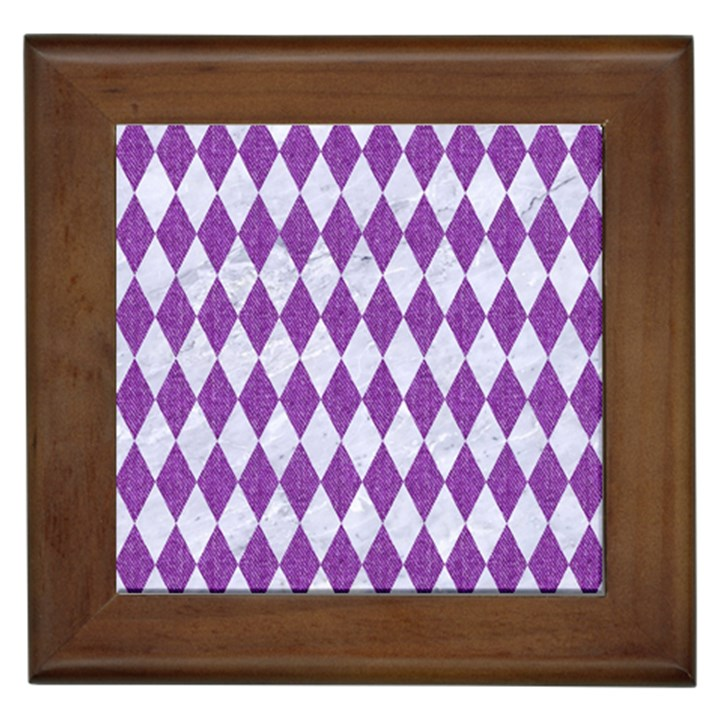 DIAMOND1 WHITE MARBLE & PURPLE DENIM Framed Tiles