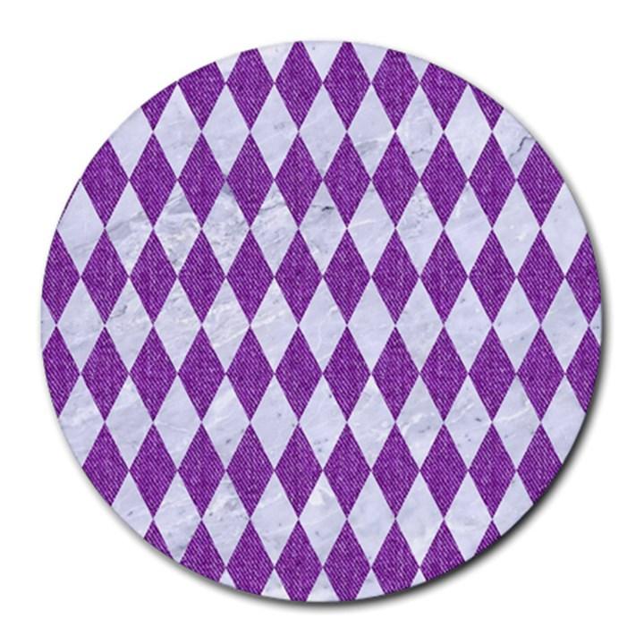 DIAMOND1 WHITE MARBLE & PURPLE DENIM Round Mousepads