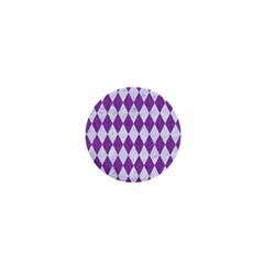 Diamond1 White Marble & Purple Denim 1  Mini Magnets