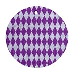 DIAMOND1 WHITE MARBLE & PURPLE DENIM Ornament (Round)