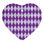 DIAMOND1 WHITE MARBLE & PURPLE DENIM Ornament (Heart)