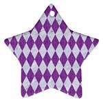 DIAMOND1 WHITE MARBLE & PURPLE DENIM Ornament (Star)