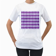 Diamond1 White Marble & Purple Denim Women s T Shirt (white) (two Sided)