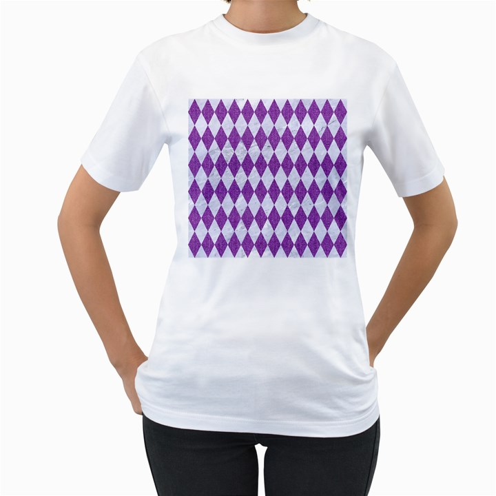 DIAMOND1 WHITE MARBLE & PURPLE DENIM Women s T-Shirt (White) (Two Sided)