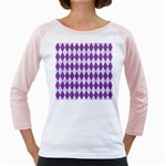 DIAMOND1 WHITE MARBLE & PURPLE DENIM Girly Raglans