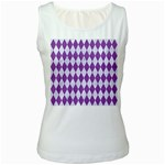 DIAMOND1 WHITE MARBLE & PURPLE DENIM Women s White Tank Top