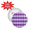 DIAMOND1 WHITE MARBLE & PURPLE DENIM 1.75  Buttons (100 pack)