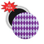 DIAMOND1 WHITE MARBLE & PURPLE DENIM 2.25  Magnets (10 pack)