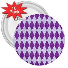 Diamond1 White Marble & Purple Denim 3  Buttons (10 Pack)