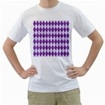 DIAMOND1 WHITE MARBLE & PURPLE DENIM Men s T-Shirt (White) (Two Sided)