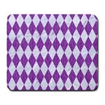 DIAMOND1 WHITE MARBLE & PURPLE DENIM Large Mousepads