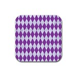 DIAMOND1 WHITE MARBLE & PURPLE DENIM Rubber Coaster (Square)