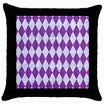 DIAMOND1 WHITE MARBLE & PURPLE DENIM Throw Pillow Case (Black) Front