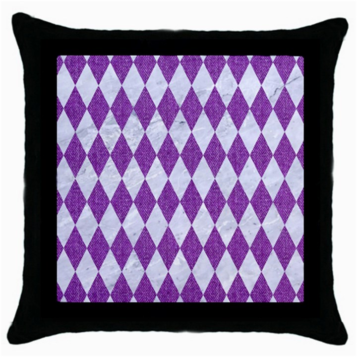 DIAMOND1 WHITE MARBLE & PURPLE DENIM Throw Pillow Case (Black)