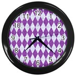DIAMOND1 WHITE MARBLE & PURPLE DENIM Wall Clocks (Black)