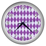 DIAMOND1 WHITE MARBLE & PURPLE DENIM Wall Clocks (Silver)