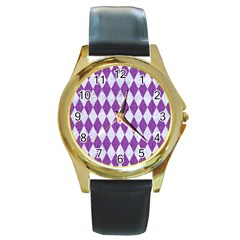 Diamond1 White Marble & Purple Denim Round Gold Metal Watch
