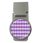 DIAMOND1 WHITE MARBLE & PURPLE DENIM Money Clips (Round)