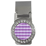 DIAMOND1 WHITE MARBLE & PURPLE DENIM Money Clips (CZ)