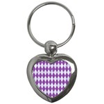 DIAMOND1 WHITE MARBLE & PURPLE DENIM Key Chains (Heart)