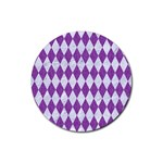 DIAMOND1 WHITE MARBLE & PURPLE DENIM Rubber Coaster (Round)